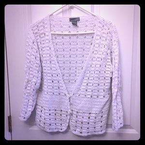 White crochet cropped jacket